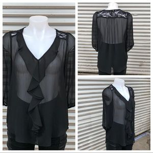 BCX size medium sheer black too with lace neck